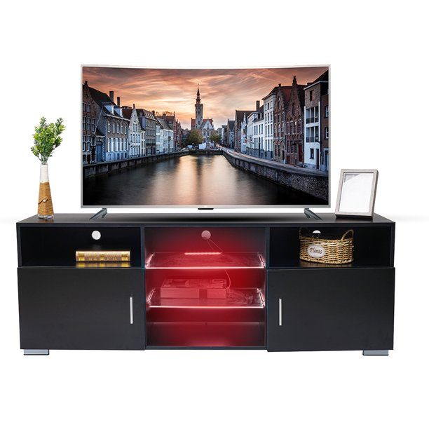 "57'' TV Stand with LED Lights, Modern Entertainment Center, Media Console Storage Cabinet, Lighting Open Shelves for 40-50"" TV Screen"