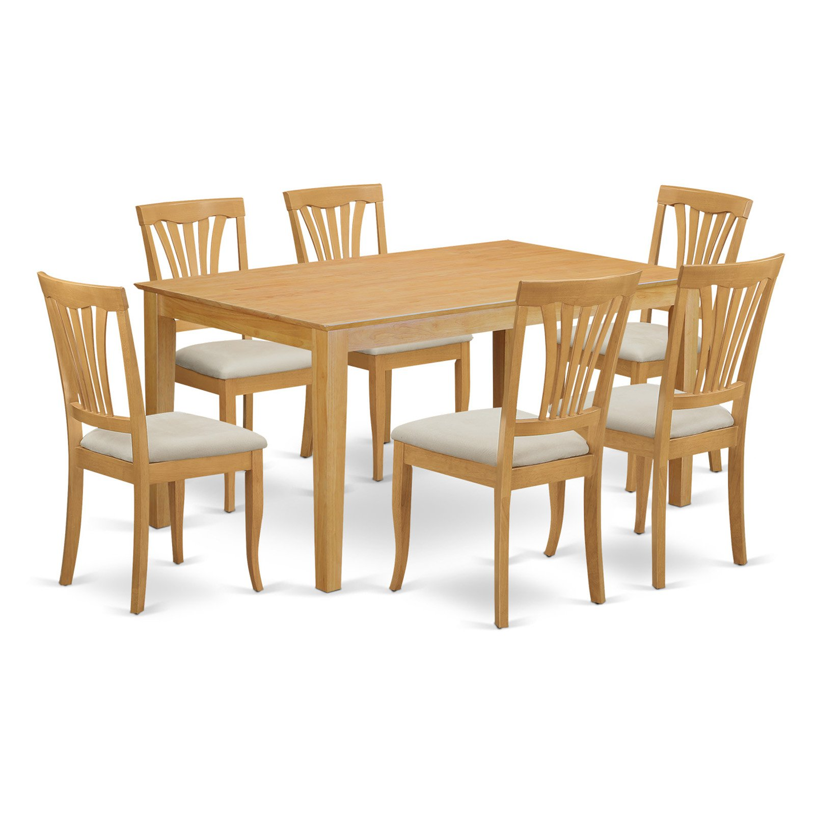 East West Furniture Capri 7 Piece Lath Back Dining Table Set