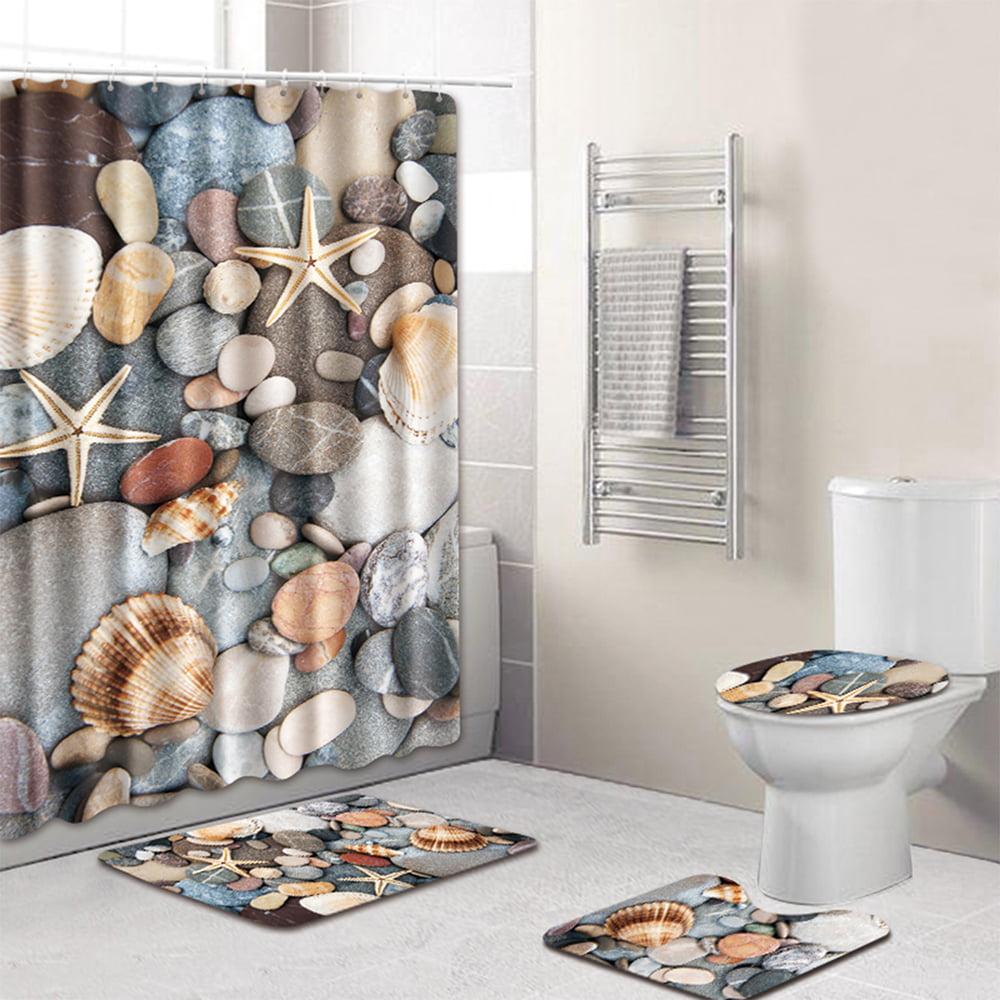 Conch Starfish Door Bath Mat Toilet Cover Rugs Shower Curtain Bathroom Decor