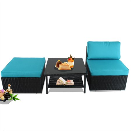 Miraculous Patio Furniture Sofas Black Rattan Sofa Ottoman Side Table Outdoor Conversation Couch Set Turquoise Cushion Garden Furniture Middle Pdpeps Interior Chair Design Pdpepsorg