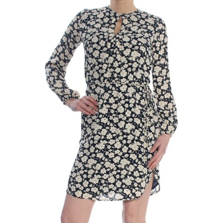 RALPH LAUREN Womens Navy Slit Floral Long Sleeve Keyhole Above The Knee Sheath Wear To Work Dress Petites  Size: 0