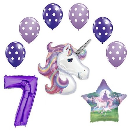 Lavender Unicorn Polka Dot Latex Rainbow 7th Birthday Party Balloon supplies and decorations (Polka Dot Birthday Supplies)