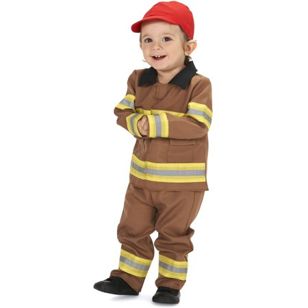Brave Tan Firefighter with Cap Infant Halloween Costume