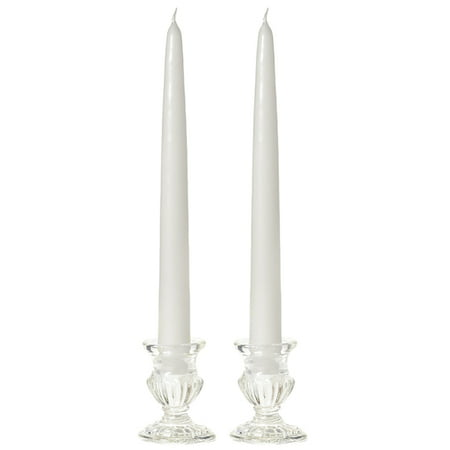 1 Pair Taper Candles Unscented 8 Inch White Tapers  88 in  diameter x 8 in   tall