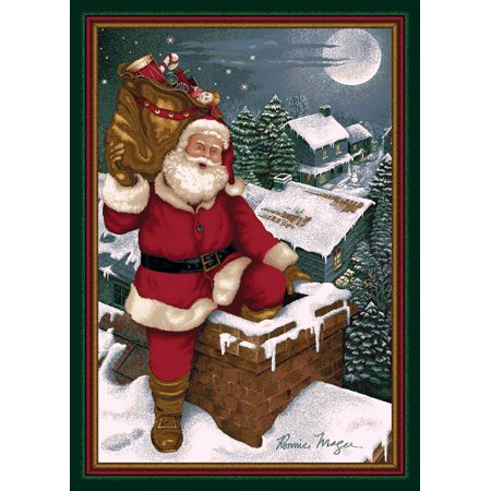 - Milliken Seasonal Inspirations Area Rugs - Novelty 11000 Emerald Santa Chimney Rooftop Christmas Eve Rug
