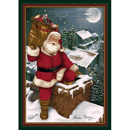 - Milliken Seasonal Inspirations Area Rugs - Novelty 11000 Emerald Santa Chimney Rooftop Christmas Eve Rug