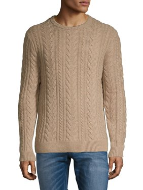 Black Brown 1826 Luxe Lambswool Blend Cable Knit Crewneck Sweater