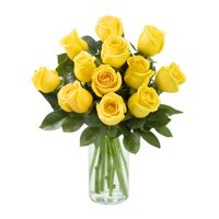 Arabella Farm Direct Bouquet of 12 Fresh Cut Yellow Roses with Free Vase