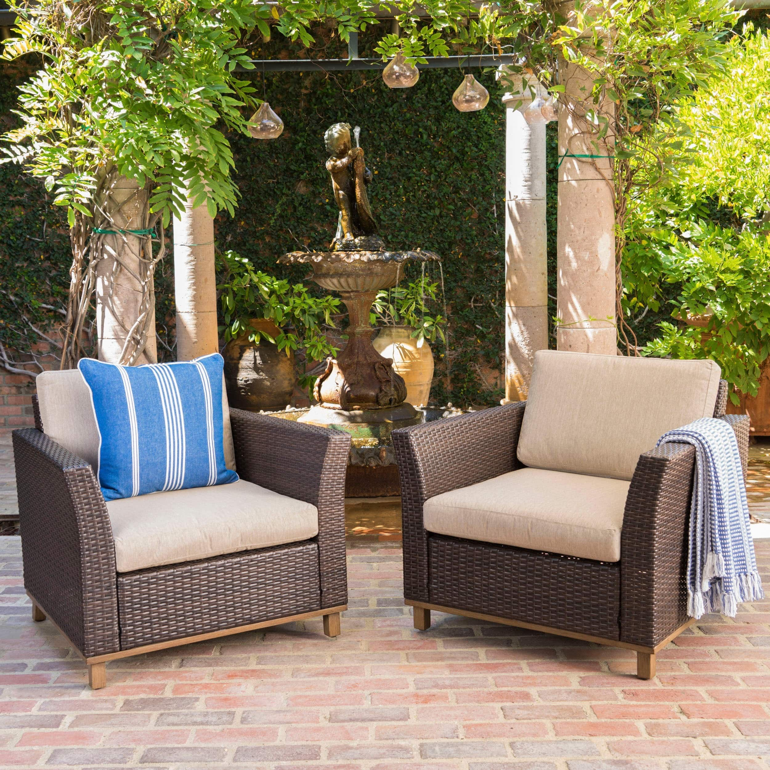 Christopher Knight Home Glenwood Outdoor Wicker Aluminum Club Chair with Cushion (Set of 2) by