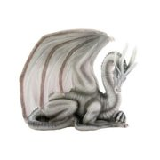 wise old white dragon collectible serpent drake figurine statue model