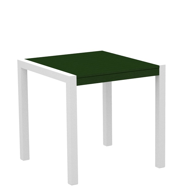 """30""""  Recycled Earth-Friendly Outdoor Bistro Table - Green with White Frame"""
