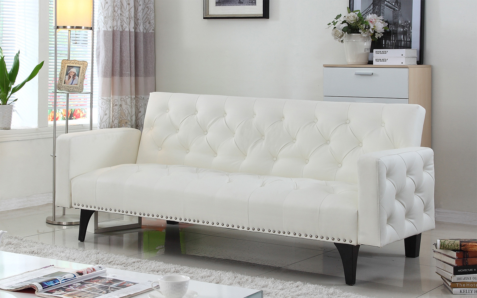 Modern Tufted Bonded Leather Sleeper Futon Sofa With Nailhead Trim