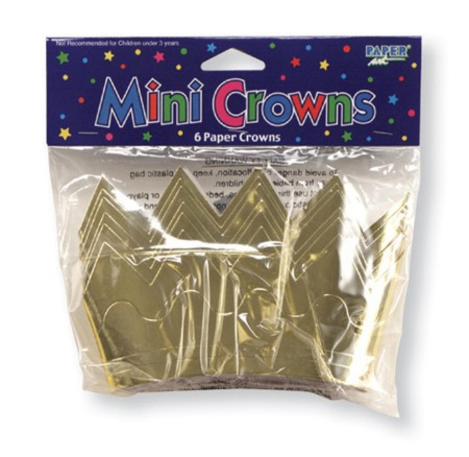 Club Pack of 144 Metallic Gold Mini Foil Paper Crown Children's Party Hats