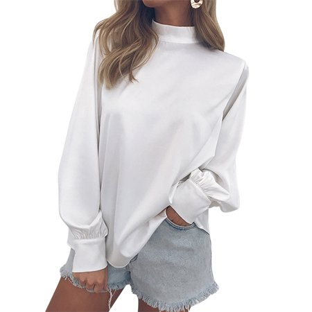 OUMY Women Puff Long Sleeve Turtle Neck Tops Casual Blouse