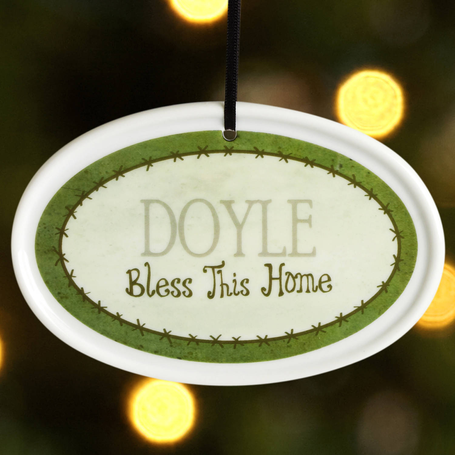 Personalized Bless This Home Christmas Ornament, Green