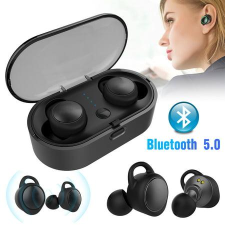 EEEKit True Wireless Earbuds Bluetooth 5.0 Headphones True Wireless Stereo 3D Sound 18H Playtime Sweatproof Earphones with Charging Case, Built-in Microphone, Black