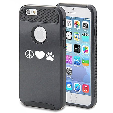 Apple iPhone 6 6s Shockproof Impact Hard Case Cover Peace Love Paw Print (Black),MIP