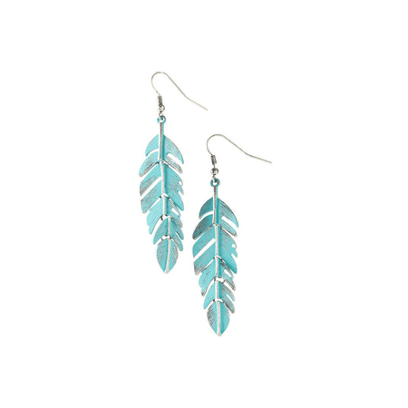 Color Patina Metal Earring (Lux Accessories Turquoise Patina & Burnished Silvertone Feather Drop Earrings )