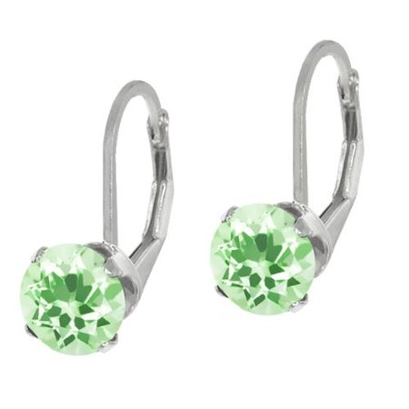 2.50 Ct Round Green Amethyst Sterling Silver 4-prong Dangle Earrings 7mm