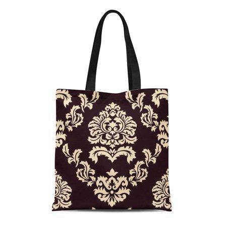 SIDONKU Canvas Tote Bag Classic Damask Brown and Beige Modern Vintage Custom Mahogany Reusable Handbag Shoulder Grocery Shopping