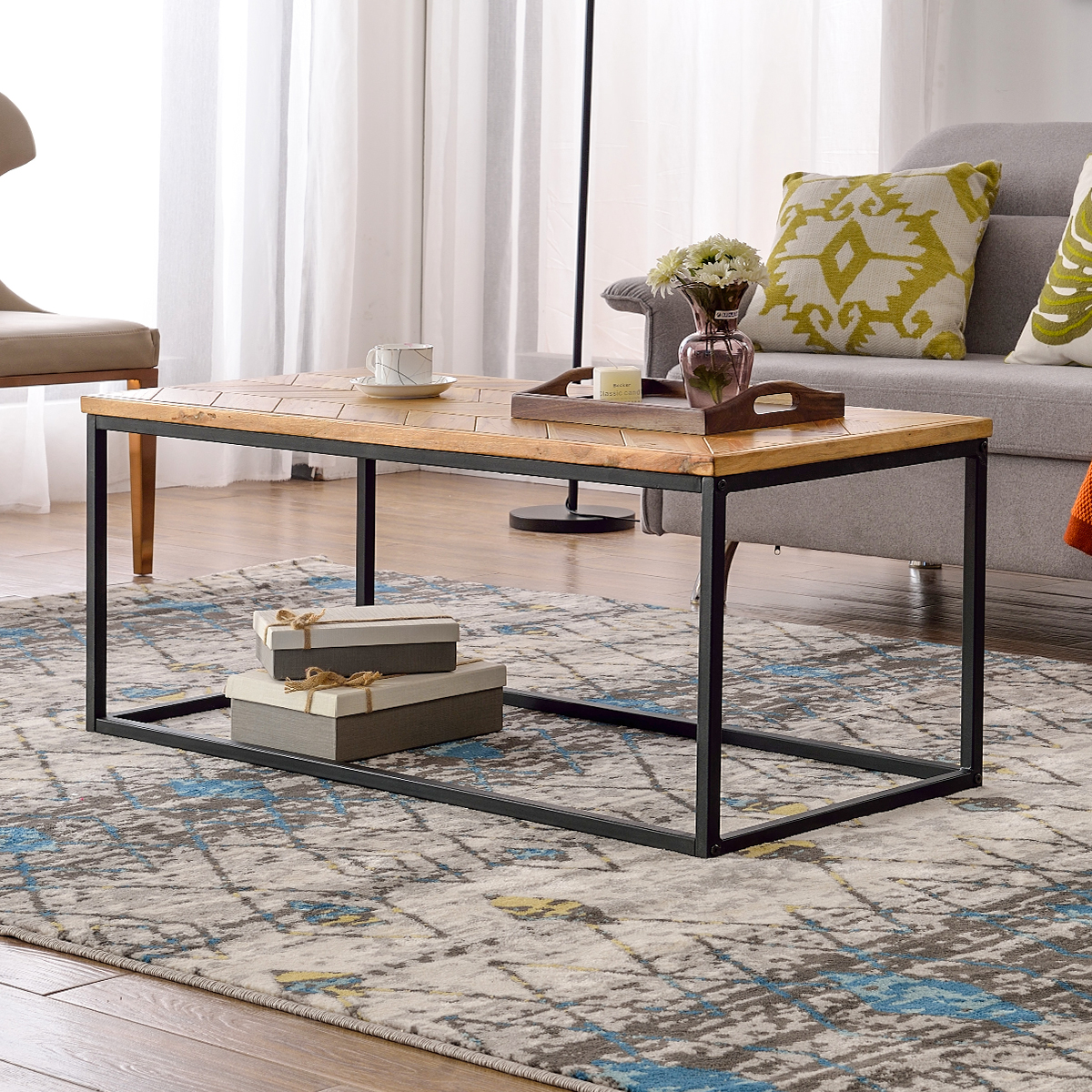 wooden wood top coffee table for living room segmart 43