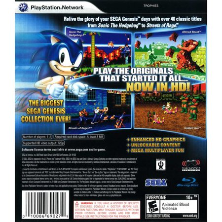 Playstation 3 Video Game (Sonic's Ultimate Genesis Collection, SEGA, Playstation 3, 00000100866902)