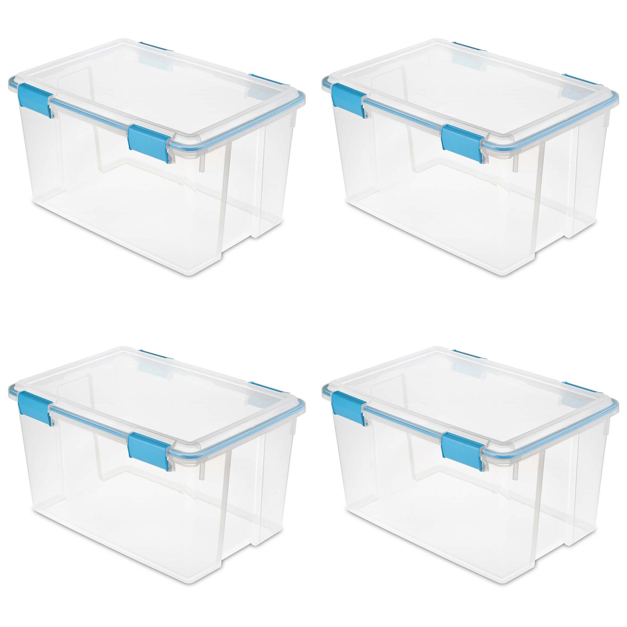 Sterilite 54 Quart Gasket Box in Clear with Blue Latches (4 Pack) | 19344304