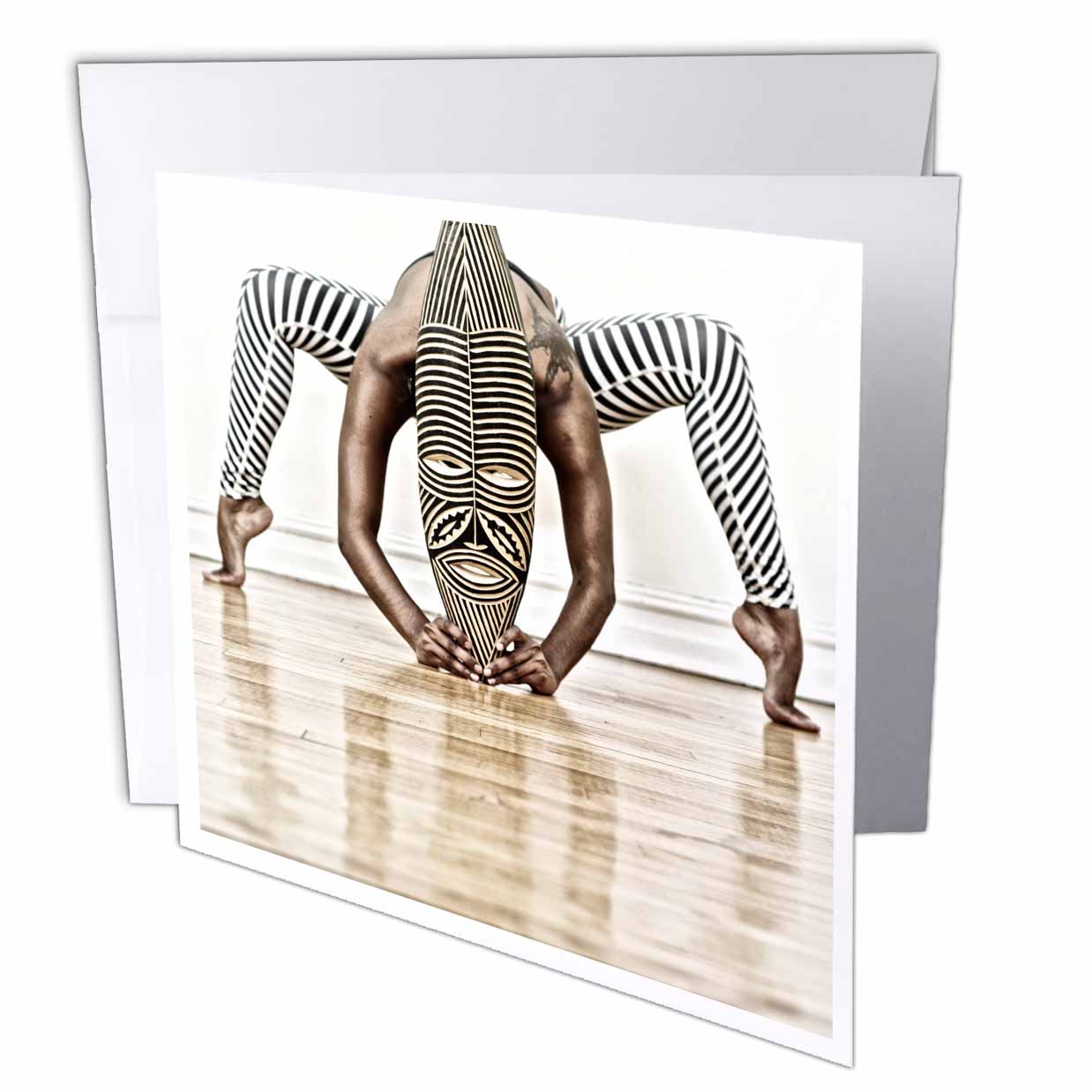 3dRose Yoga and dance with African Wooden Mask with zebra design , Greeting Cards, 6 x 6 inches, set of 12