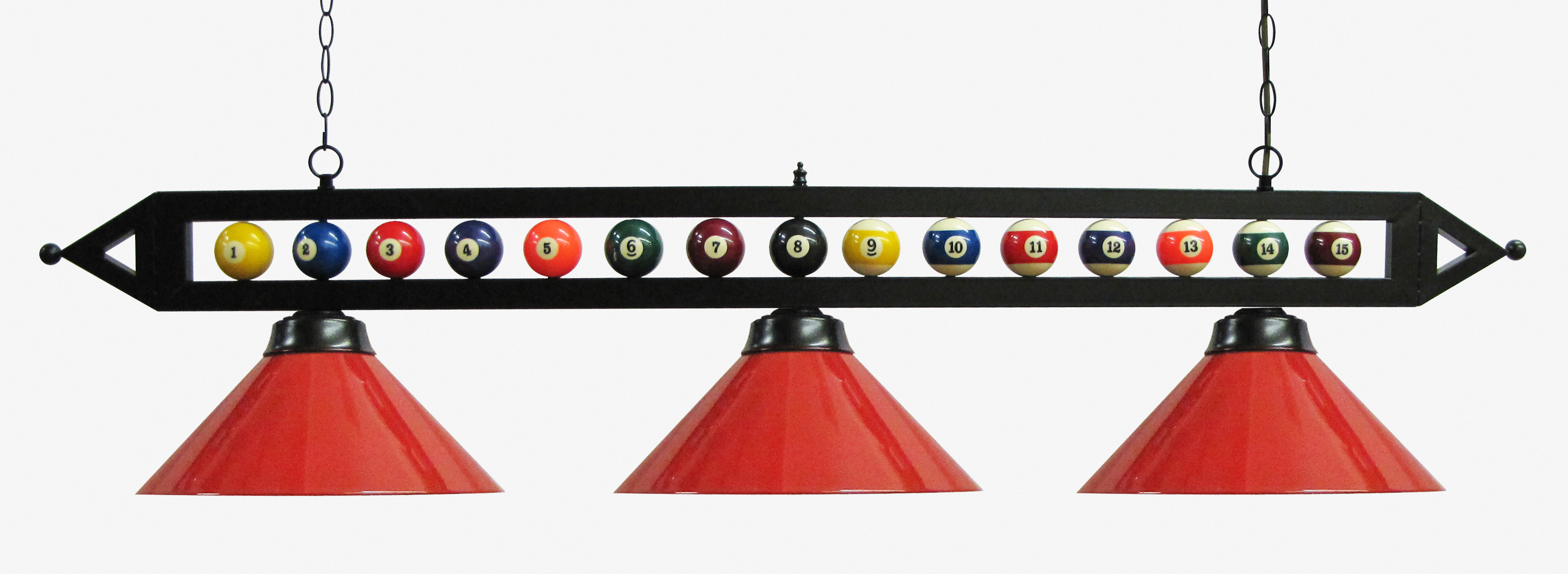 "59"" Black Metal Ball Design Pool Table Light Pool Table Light W Red Metal Shades by"