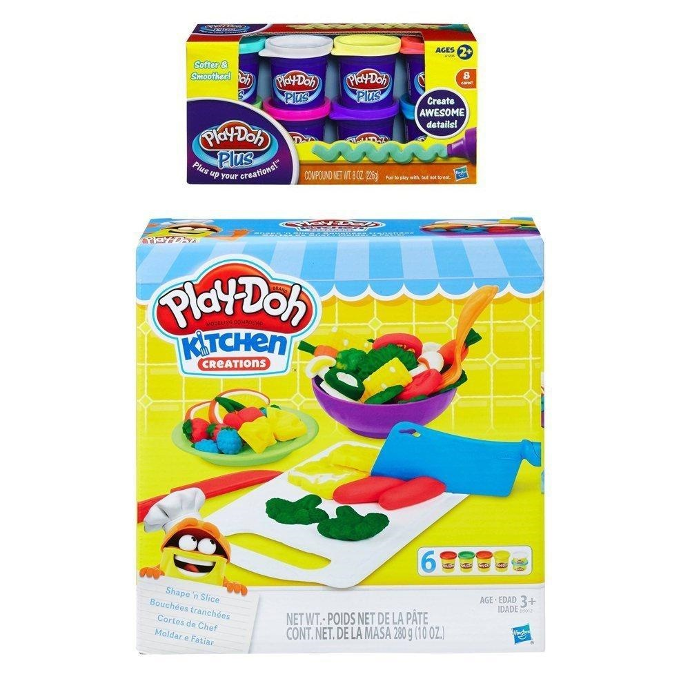 Play-Doh Kitchen Creations Shape 'n Slice + Play Doh Plus Compound Bundle