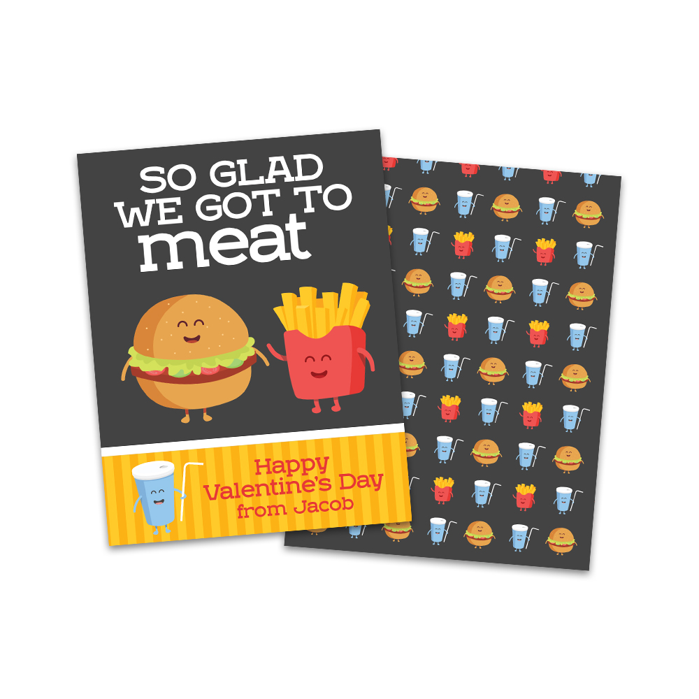 Glad To Meat Your Fast Food Personalized Valentine S Day Cards