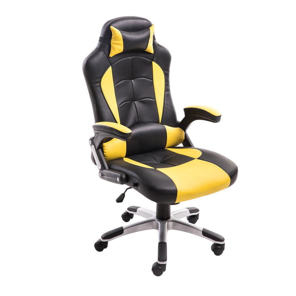 2017 New Adjusting High-Back Ergonomic Executive Racing Leather Gaming Office Chair High Back Reclining PU Leather Chair with Armrests, Backrest And Height Adjustable, Black&Yellow