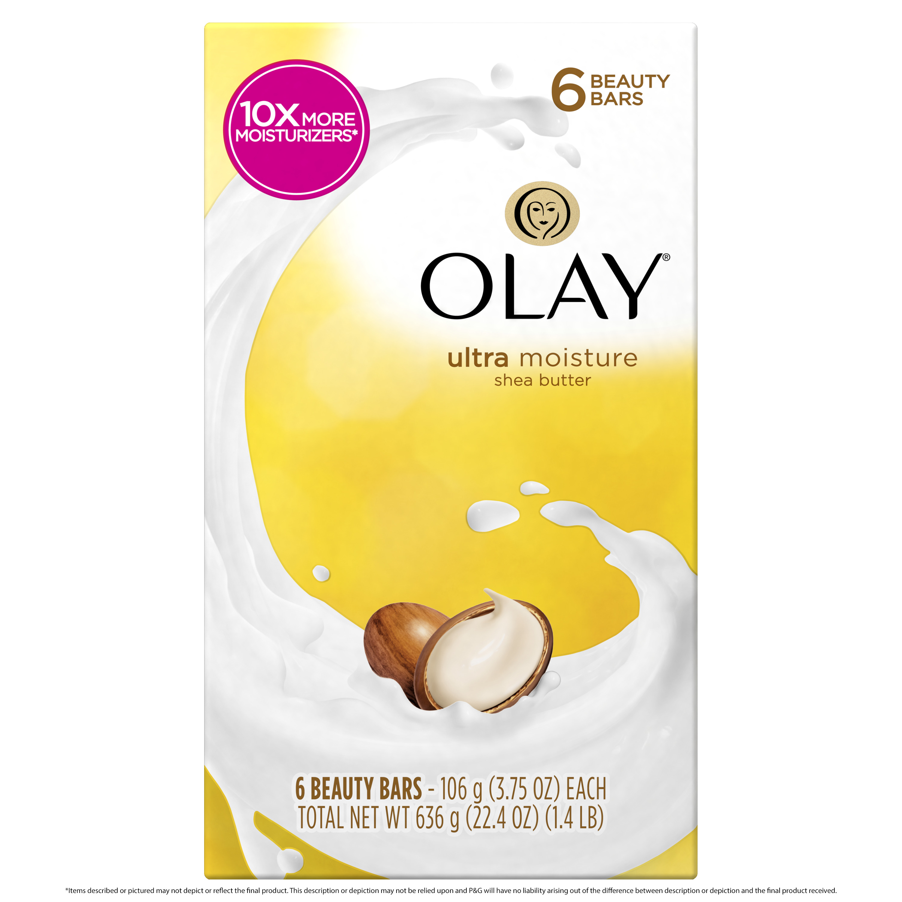 Olay Moisture Outlast Ultra Moisture Shea Butter Beauty Bar 3.75 oz, 6 count
