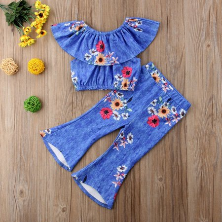 Floral Outfits Kid Baby Girl Lotus Collar Tops+Flared Pants Bell Bottom