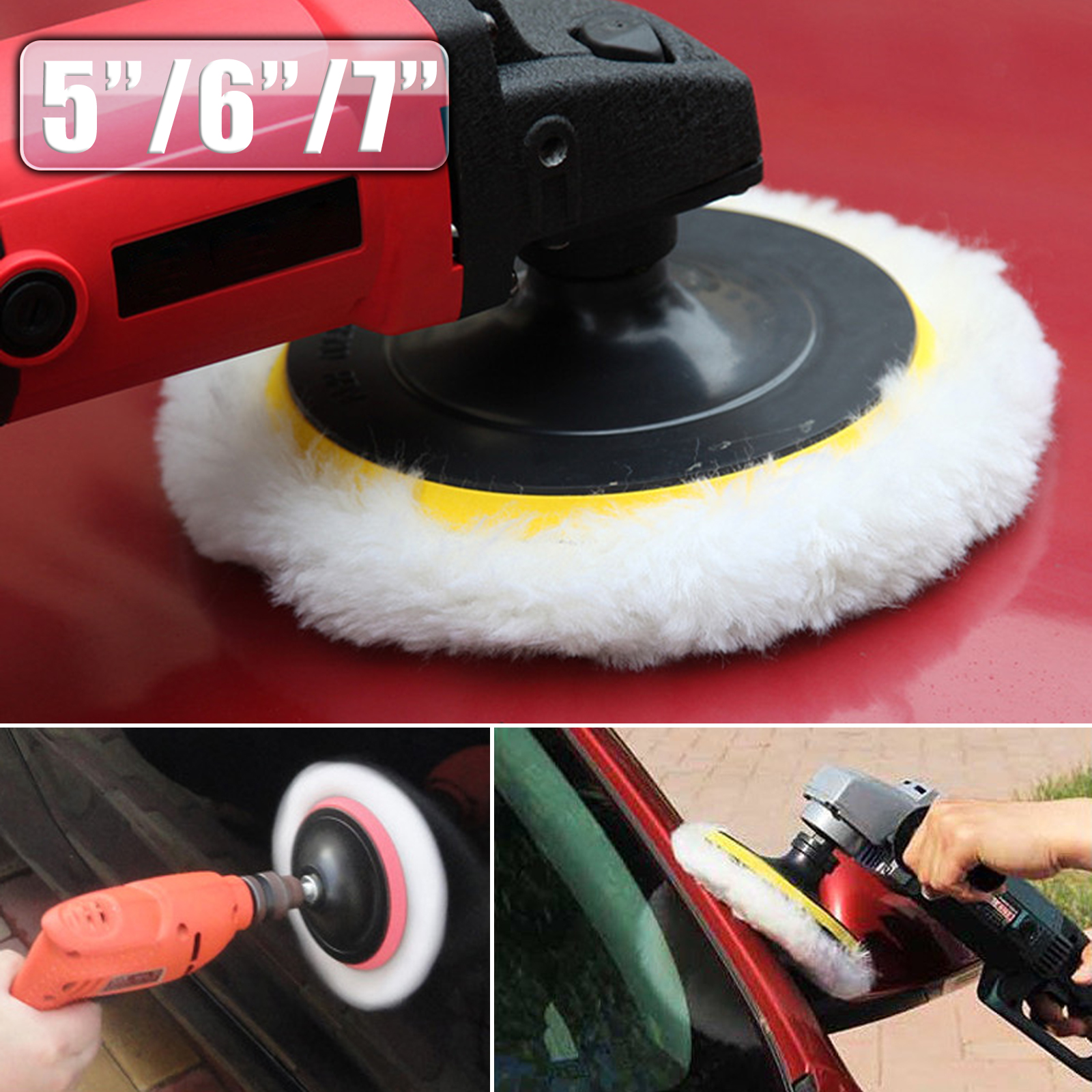 TSV 5/6/7 inch Lambs Wool Buffing Polishing Pads Bonnets Sanding On Car Buffer Pad