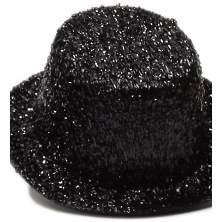 Women's Burlesque Mini Micro Black Glitter Top Hat for $<!---->