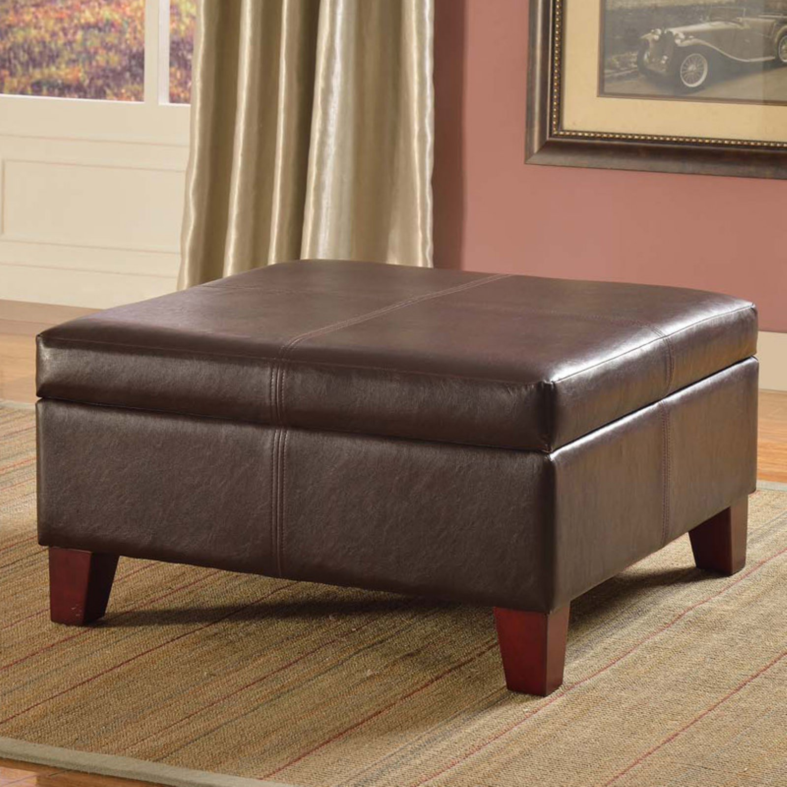 Kinfine USA Luxury Large Faux Leather Storage Ottoman