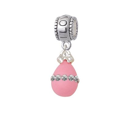 Pink Easter Egg with Clear Crystal Band - I Love You Charm Bead