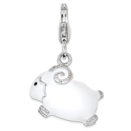 - 925 Sterling Silver Enameled 3d Ram Lobster Clasp Pendant Charm Necklace Animal For Women Gift Set