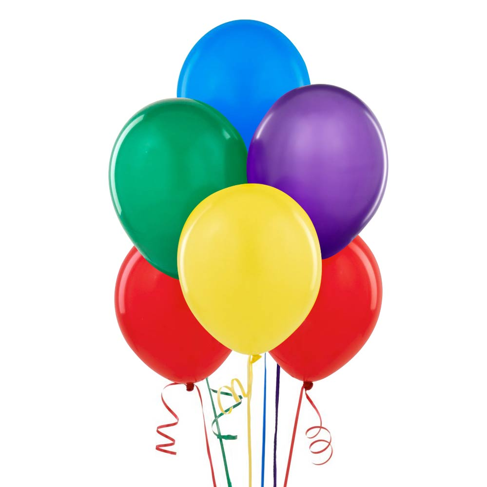 Latex Balloons, Assorted Color, 12in, 10ct