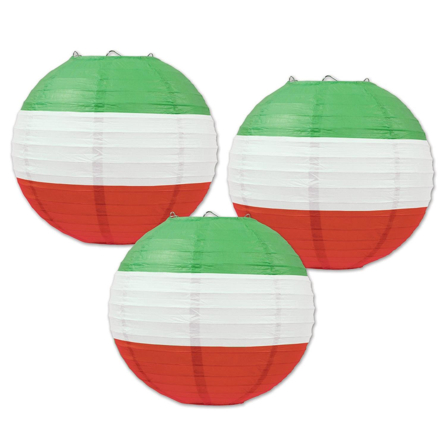 Club Pack of 18 Red, White and Green Striped Hanging Paper Lantern Party Decorations 9.5""