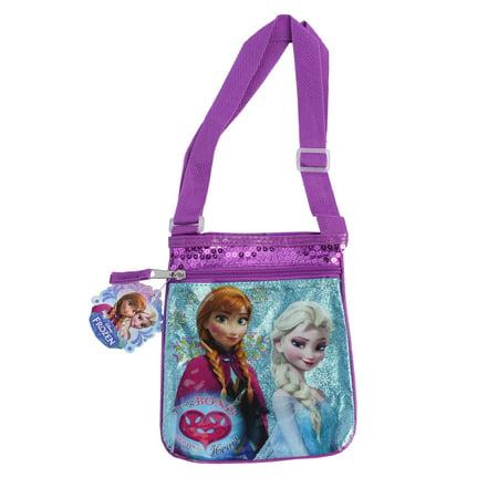 e21df6380ebf Girls Disney Frozen Elsa and Anna Shoulder Bag Purse Strong Bond Strong  Heart