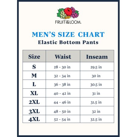 Fruit of the Loom Men's and Big Men's Eversoft Elastic Bottom Sweatpants, up to Size 4XL