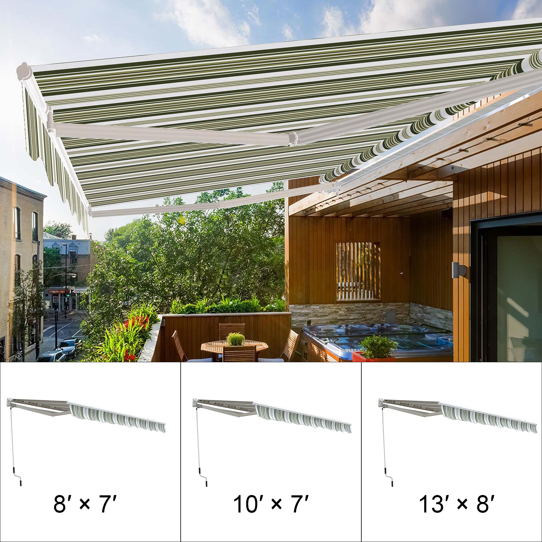 8' X 7' Manual Retractable Awning Outdoor Canopy Deck Door ...