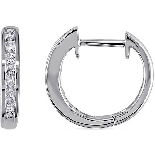 1/10 Carat T.W. Diamond 10kt White Gold Hoop Earrings
