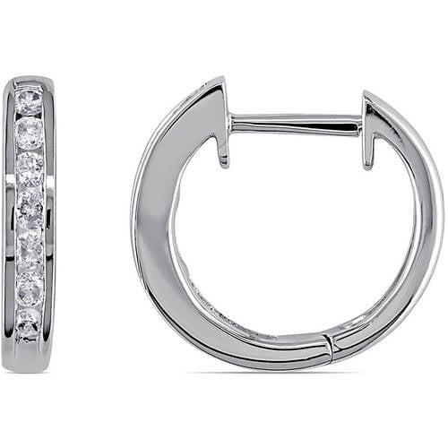 1/10 Carat T.W. Diamond 10kt White Gold Hoop Earrings