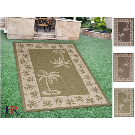 Sage Oasis (Handcraft Rugs Indoor/Outdoor area Rug with Palm Trees Design Oasis Accent Ivory Border and Sage Green in Center (7 ft. by 10)