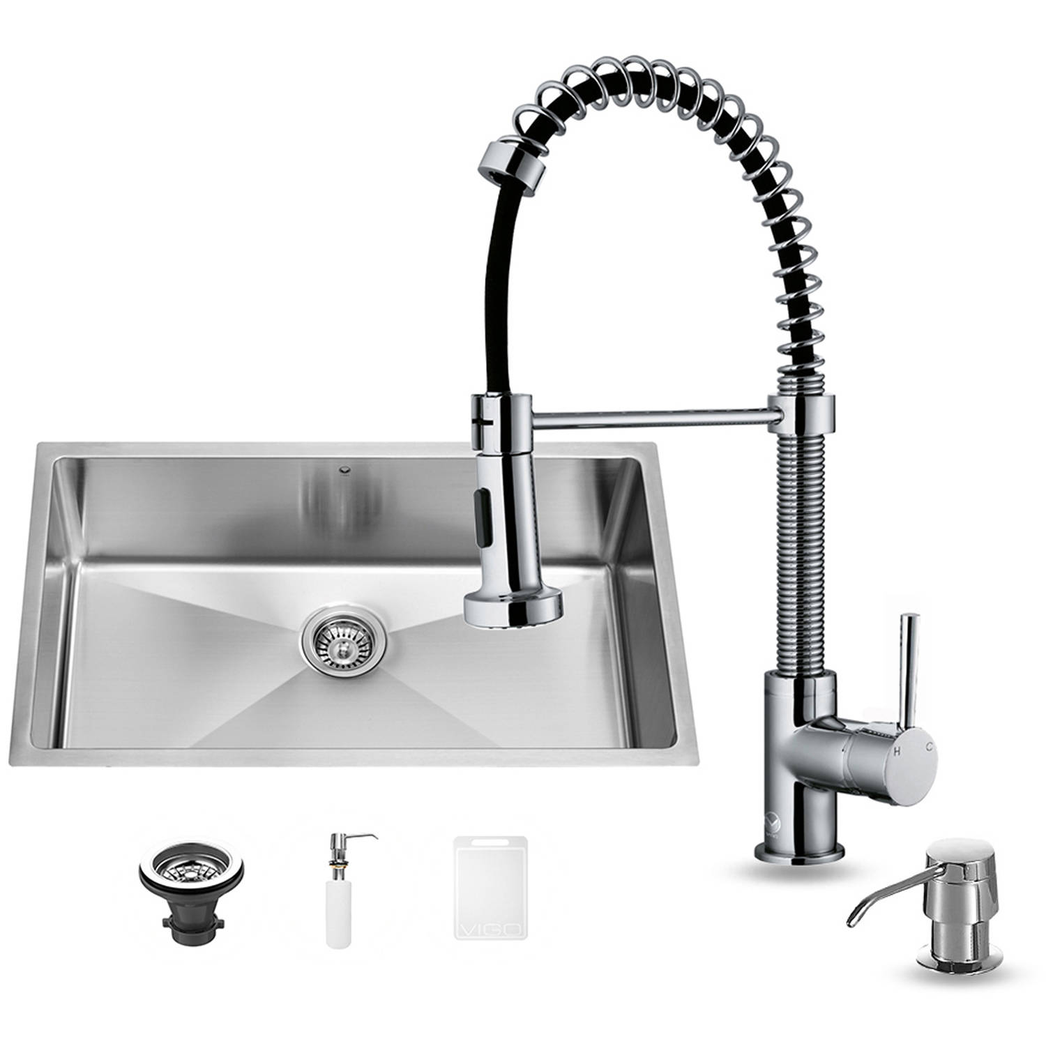 "VIGO All-In-One 32"" Mercer Stainless Steel Undermount Kitchen Sink Set With Edison Faucet In Chrome, Grid, Strainer And Dispenser"