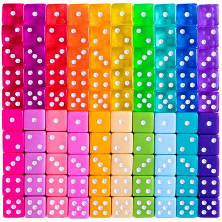 Miami Dice - 100 Retro Translucent & Solid Colored Dice for Board (100 Piece 11.5g Dice)