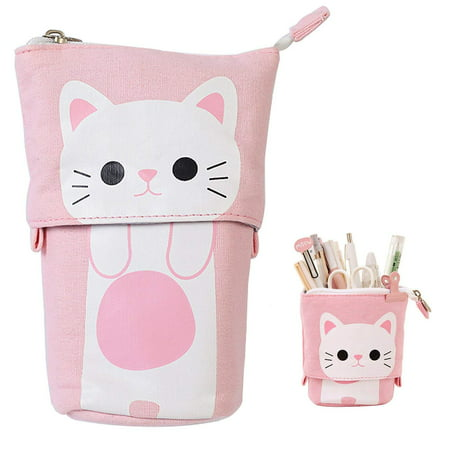 3b32fd28b8a Justdolife Transformer Stand Store Pencil Holder Canvas+PU Cartoon Cute Cat  Telescopic Pencil Pouch Bag